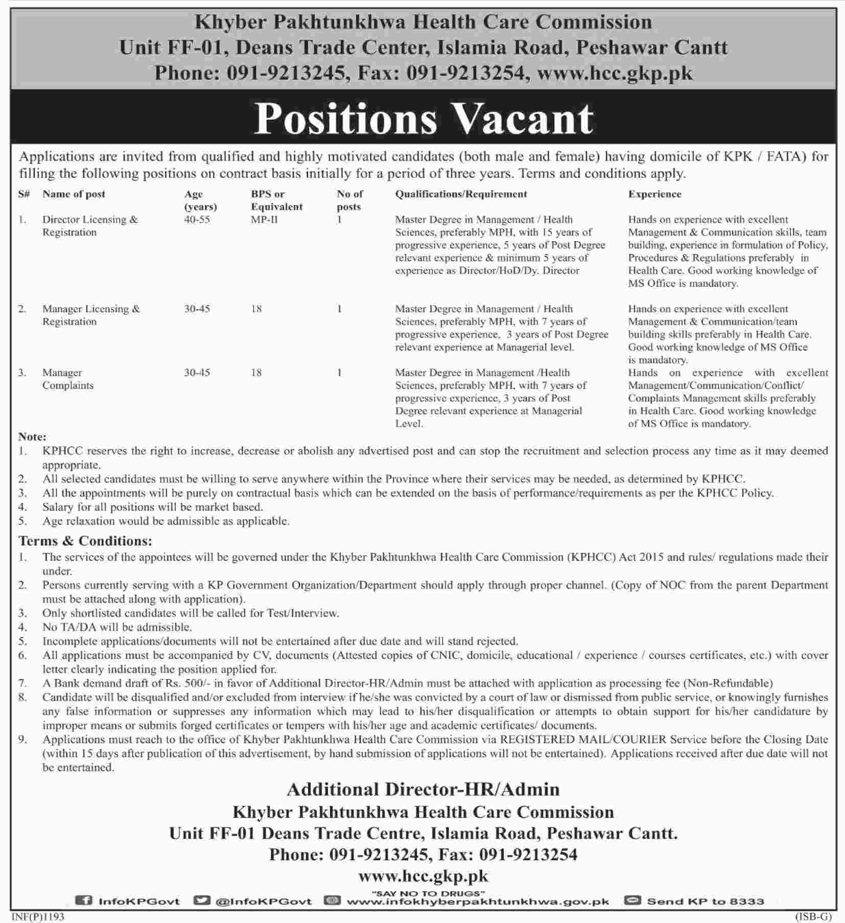 Jobs In Khyber Pakhtunkhawa Health Care Commission 08 Mar 2018