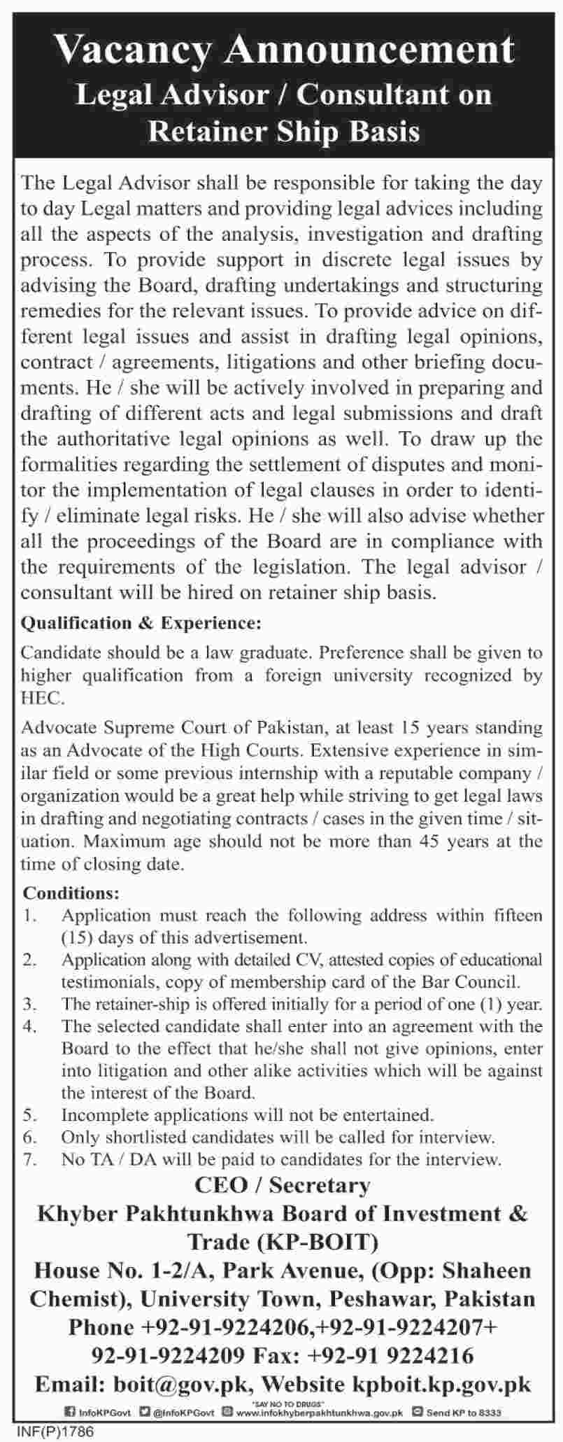 Jobs in Khyber Pakhtunkhwa Board of Investment and Trade 09 April 2018