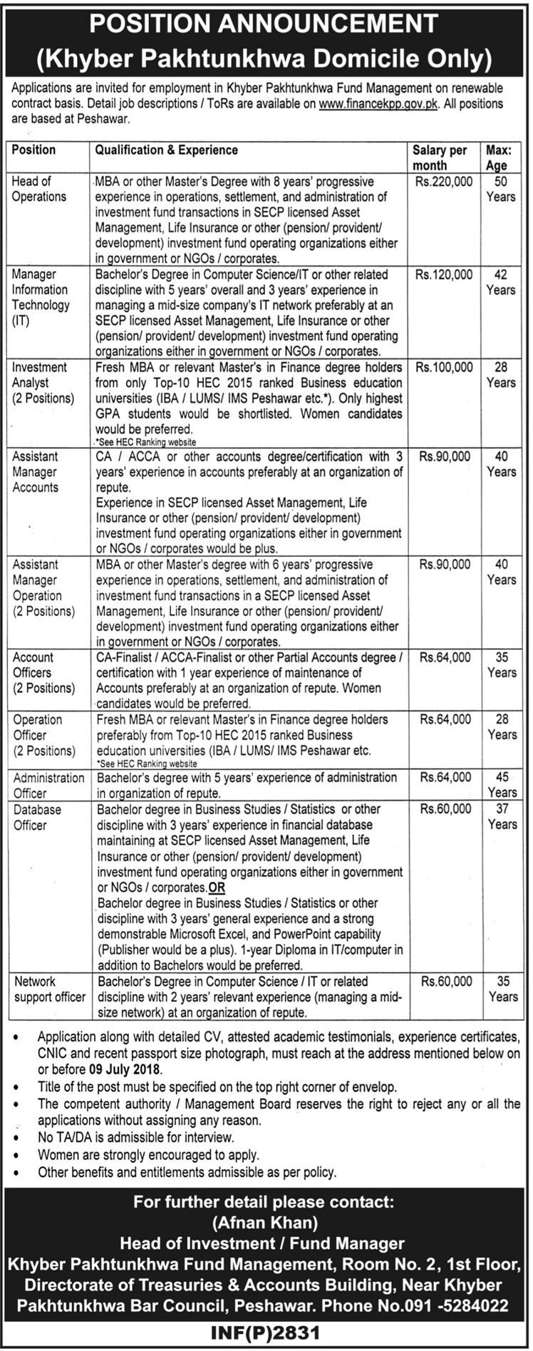 Jobs in Khyber Paktunkhwa Fund Management 21 June 2018