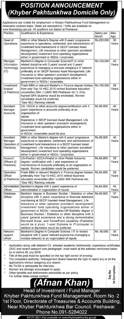 Jobs in Khyber Paktunkhwa Fund Management 22 June 2018