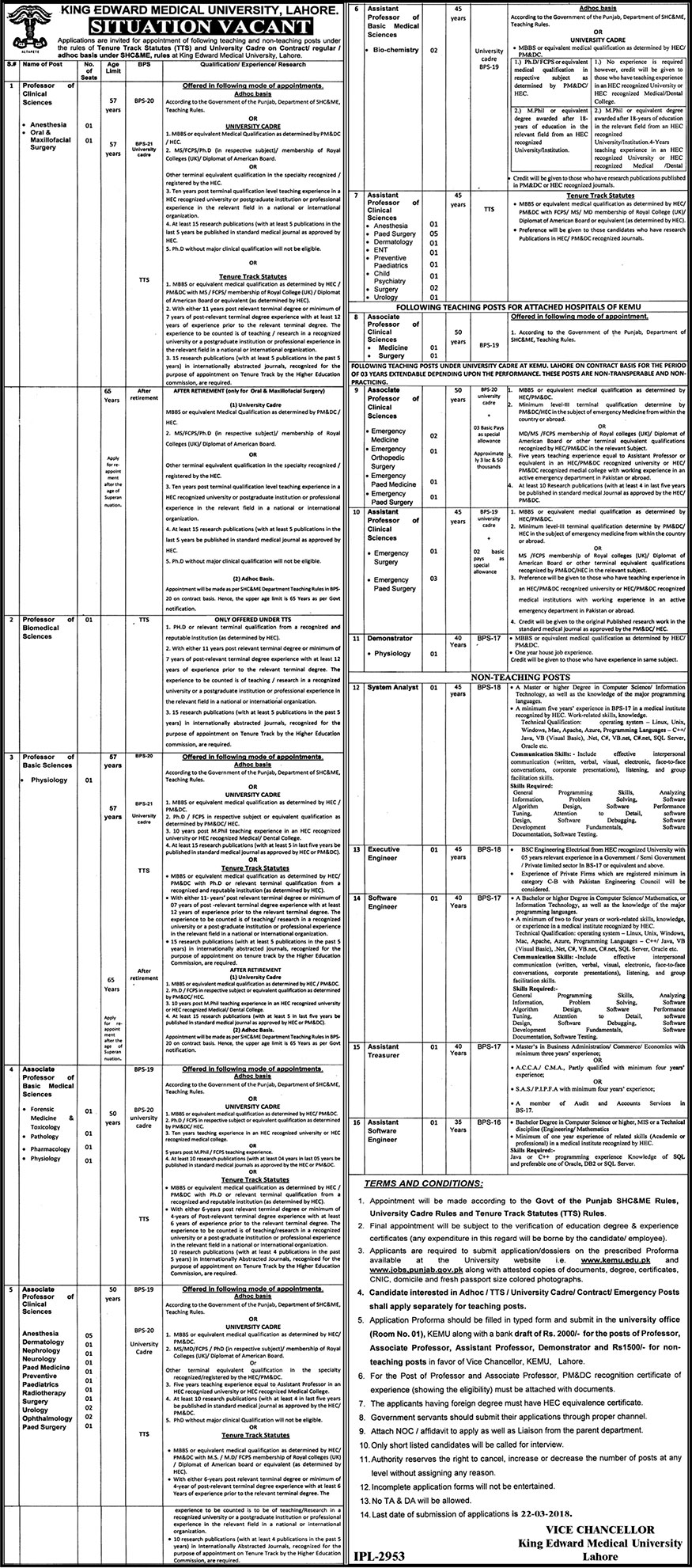 Jobs In King Edward Medical University 08 Mar 2018
