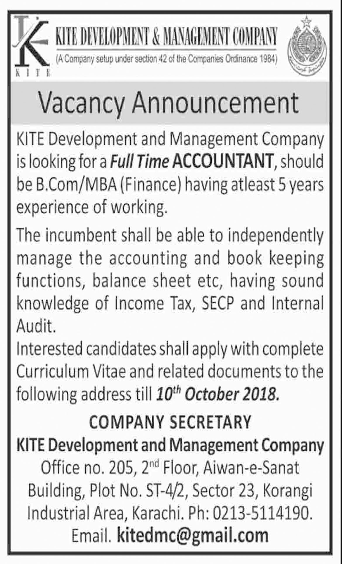 Jobs In Kite Development And Management Company 02 Oct 2018