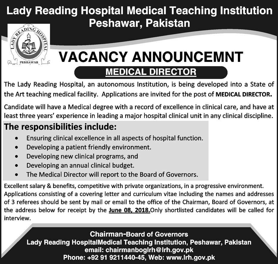 Jobs in Lady Reading Hospital Medical Teaching Institution Peshawar 24 May 2018