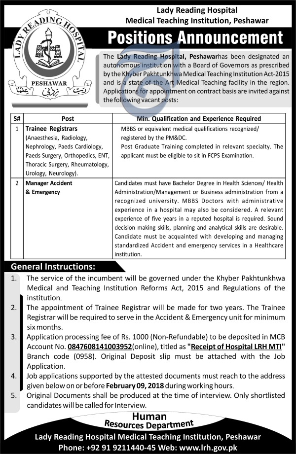 Jobs In Lady Reading Hospital Peshawar 24 Jan 2018
