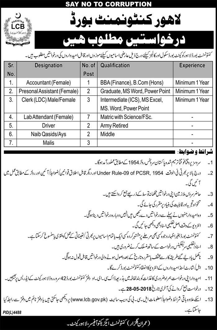 Jobs in Lahore Cantonment Board 10 May 2018