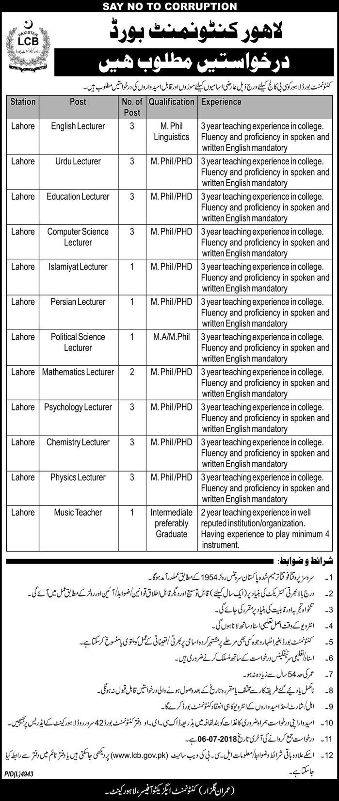 Jobs in Lahore Cantonment Board 22 June 2018