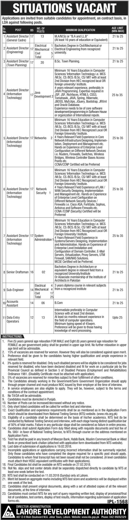 Jobs in Lahore Development Authority LDA 04 Feb 2018