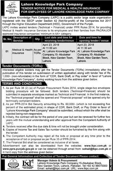 Jobs In Lahore Knowledge Park 02 Apr 2018