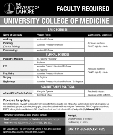 Jobs in Lahore University and College of Medicine 04 Feb 2018
