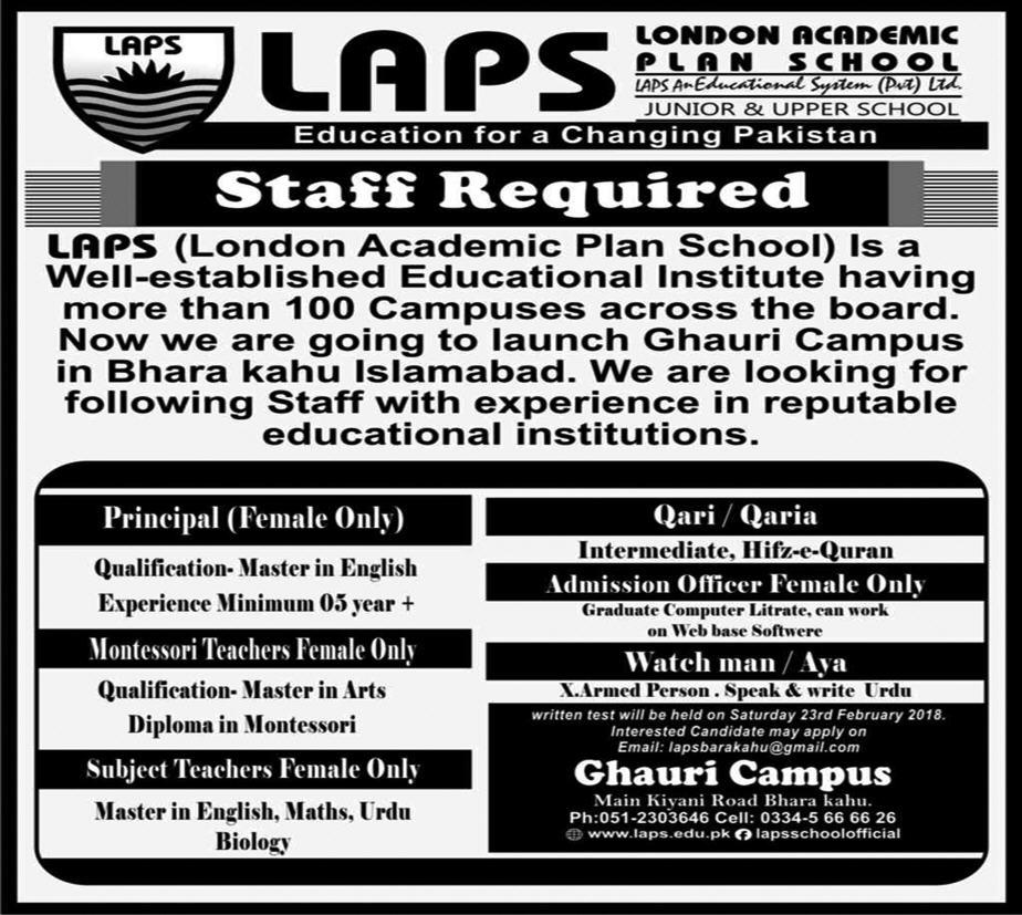 Jobs in LAPS in Islamabad 18 Feb 2018