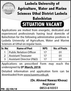 Jobs In Lasbela University Of Agriculture 23 Feb 2018