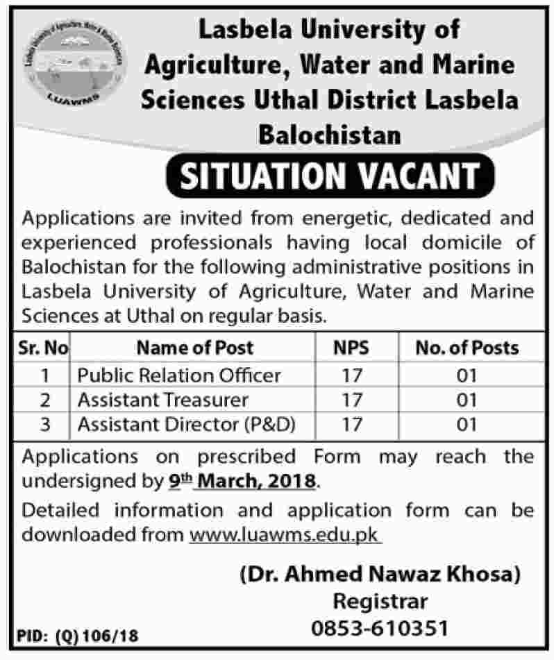 Jobs In Lasbela university Of Agriculture Water And Marine Sciences 24 Feb 2018