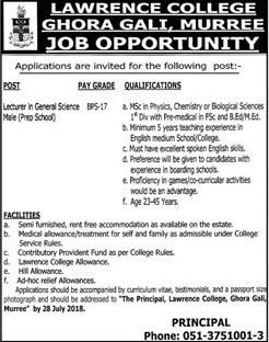 Jobs in Lawrence College Ghora Gali Murree 11 July 2018