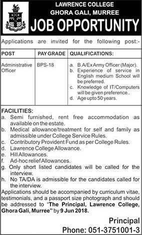 Jobs in Lawrence College Ghora Gali Murree 30 May 2018