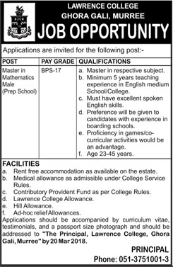 Jobs in Lawrence College in Murree 03 March 2018
