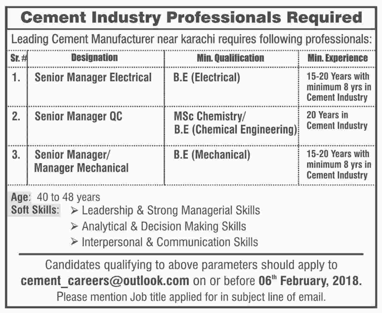 Jobs In Leading Cement Industry 22 Jan 2018