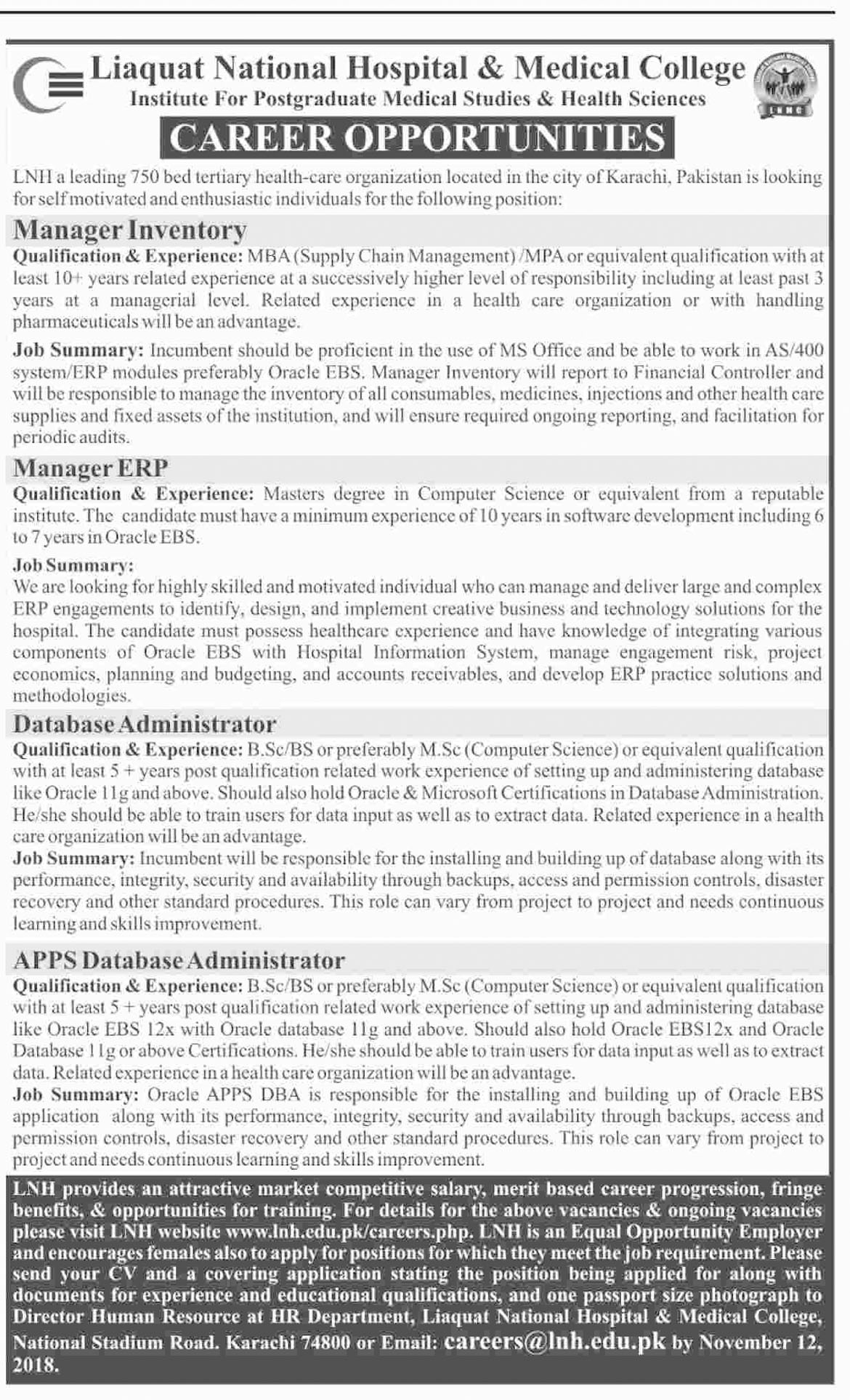 Jobs In Liaquat National Hospital And Medical College 05 Nov 2018