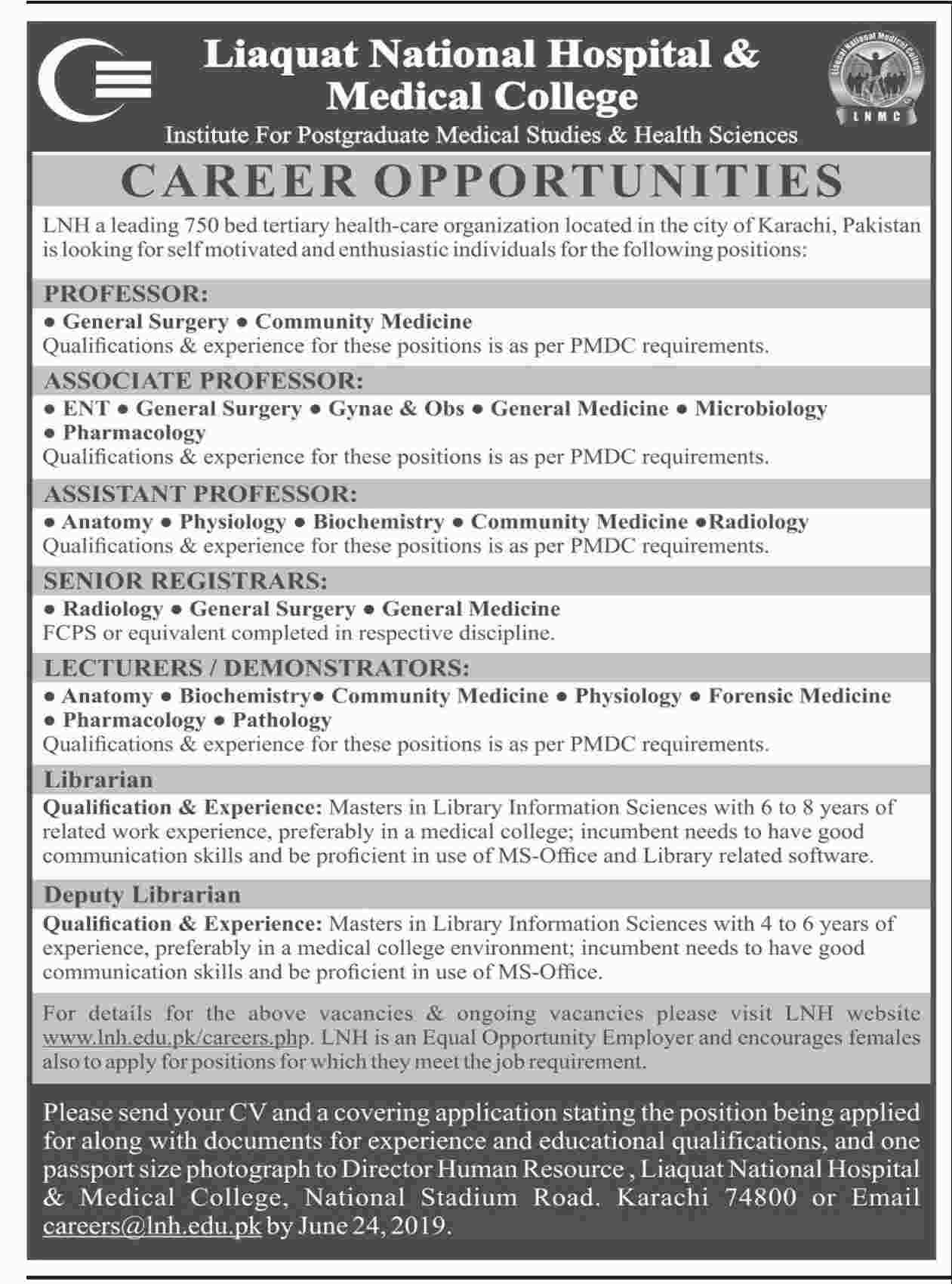 Jobs In Liaquat National Hospital & Medical College 2019