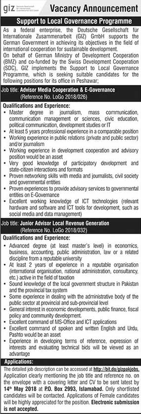 Jobs in Local Governance Programme 29 April 2018