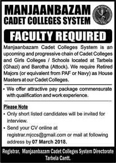 Jobs in Manjaanbazam Cadet College in Tarbela 25 Feb 2018