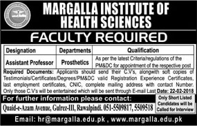 Jobs In Margalla Institute Of Health Sciences 20 Feb 2018