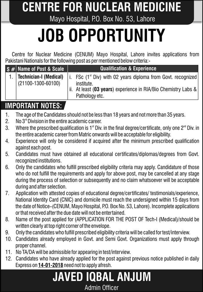 Jobs in Mayo Hospital in Lahore 25 Feb 2018