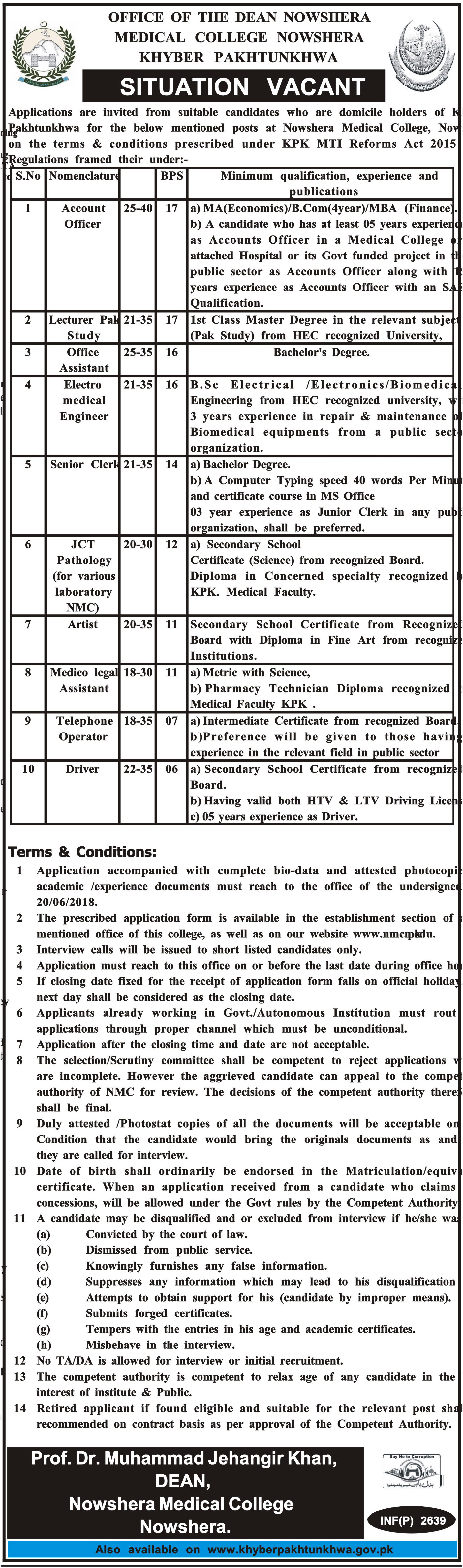 Jobs in Medical College Nowshera 06 June 2018