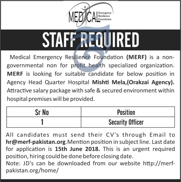 Jobs in Medical Emergency Resilience Foundation 08 June 2018