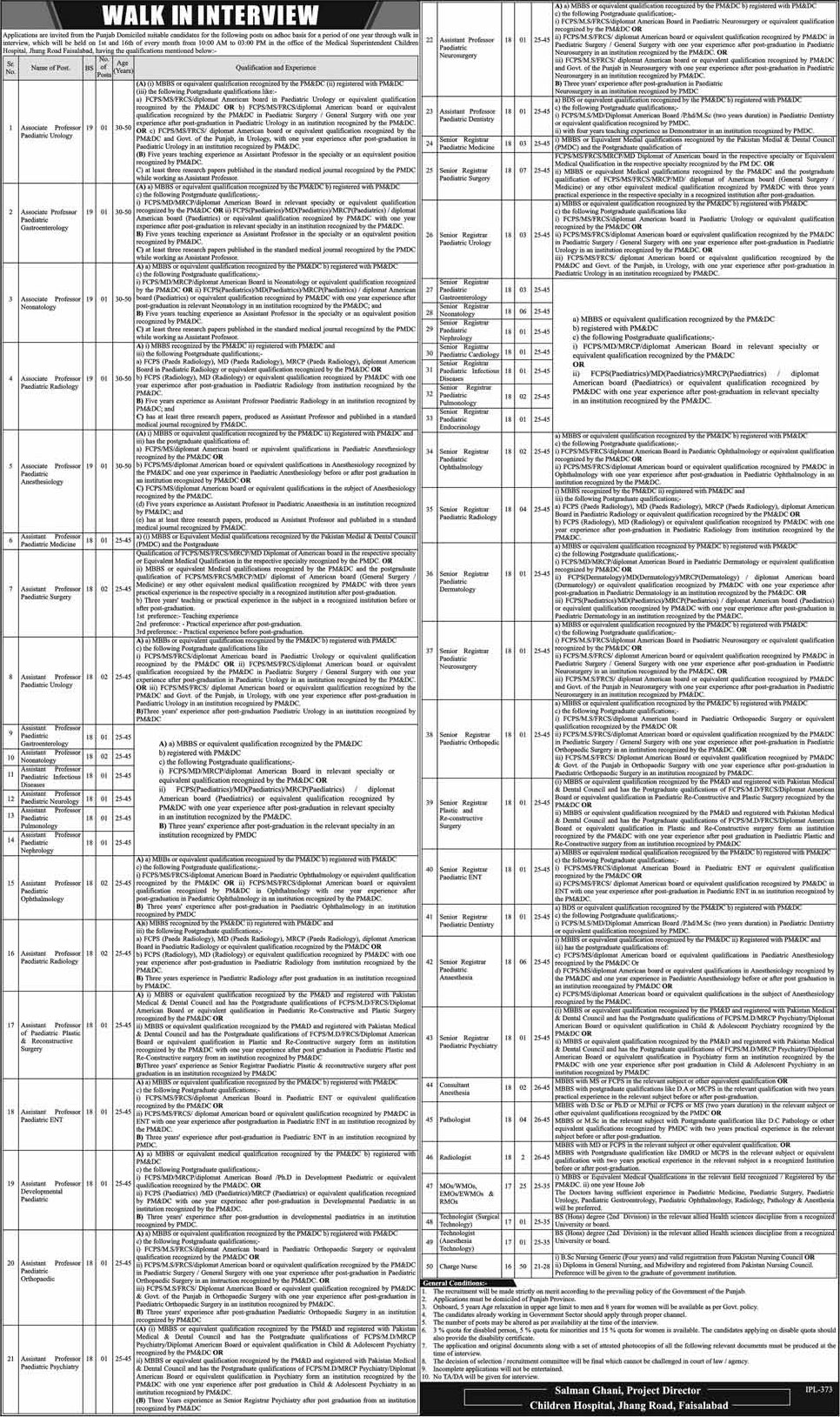 Jobs In Medical Hospital Jhang 09 Jan 2018