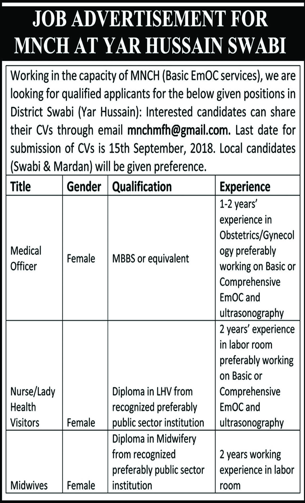 Jobs In Medical Officers, Nurse, Lady Health Visitor, Midwives  11 Sep 2018