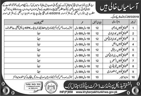 Jobs In Medical Superintendent District Head Quarter Karak 19 Feb 2018