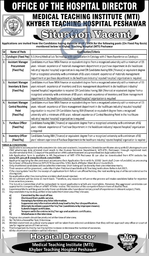 Jobs in Medical Teaching Institute Khyber Teaching Hospital 30 March 2018