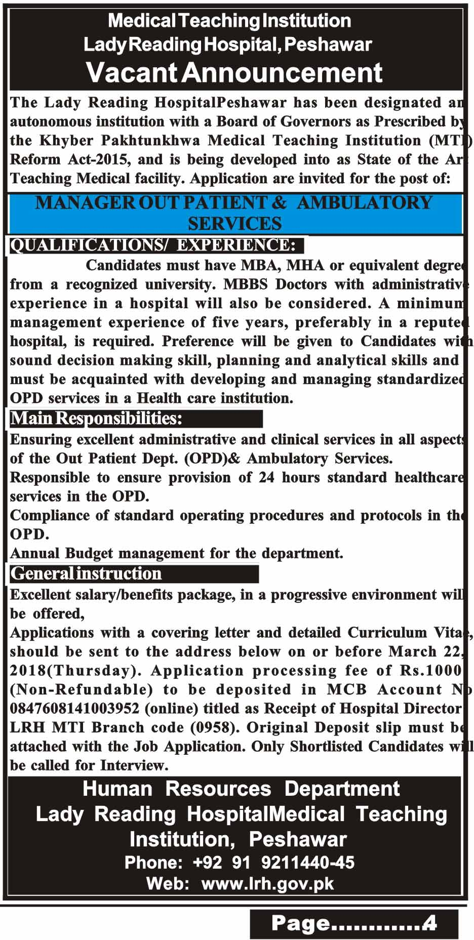 Jobs in Medical Teaching Institute Lady Reading Hospital 06 March 2018