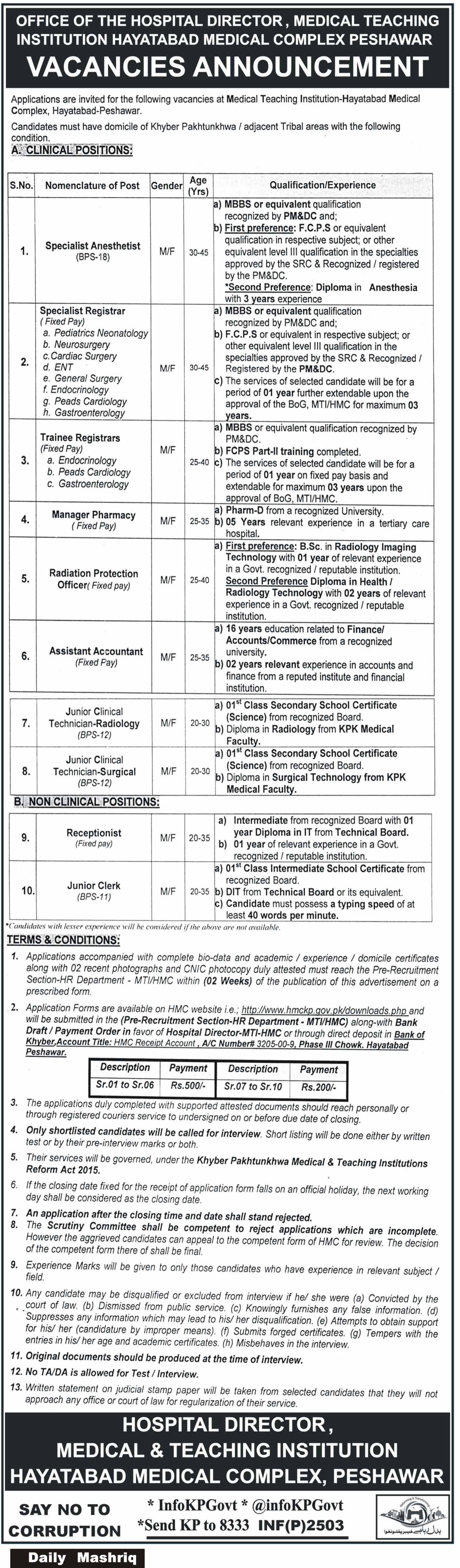 Jobs in Medical Teaching Institution Hayatabad 25 May 2018