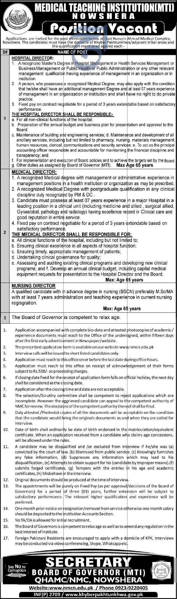 Jobs in Medical Teaching Institution Nowshera 10 June 2018