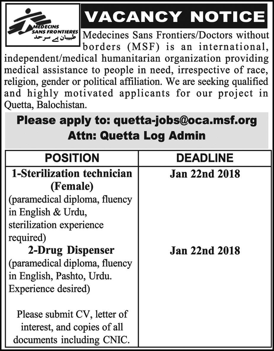 jobs In Medicines Sans Frontiers 18 Jan 2018