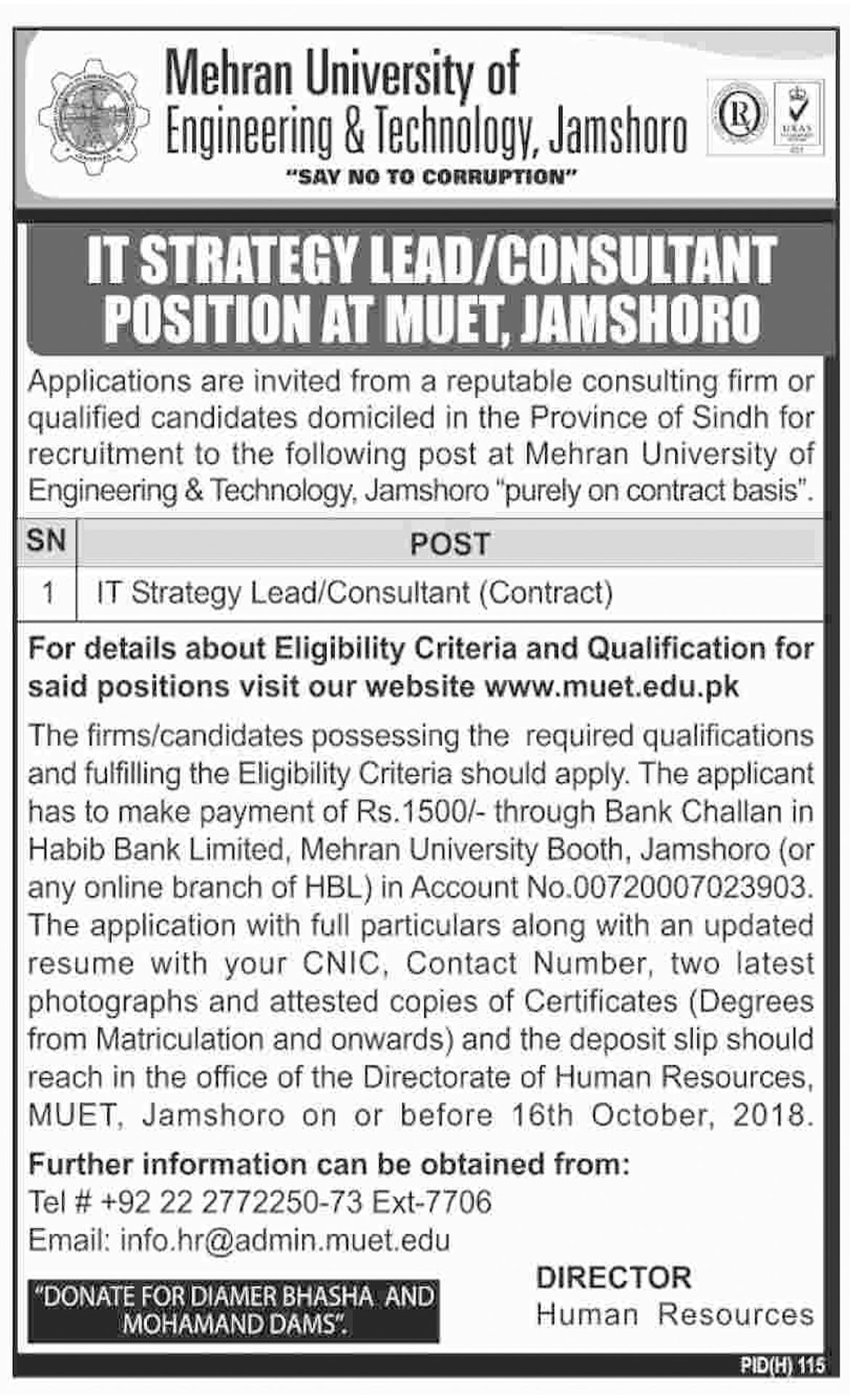 Jobs In Mehran University Of Engineering And Technology 04 Oct 2018