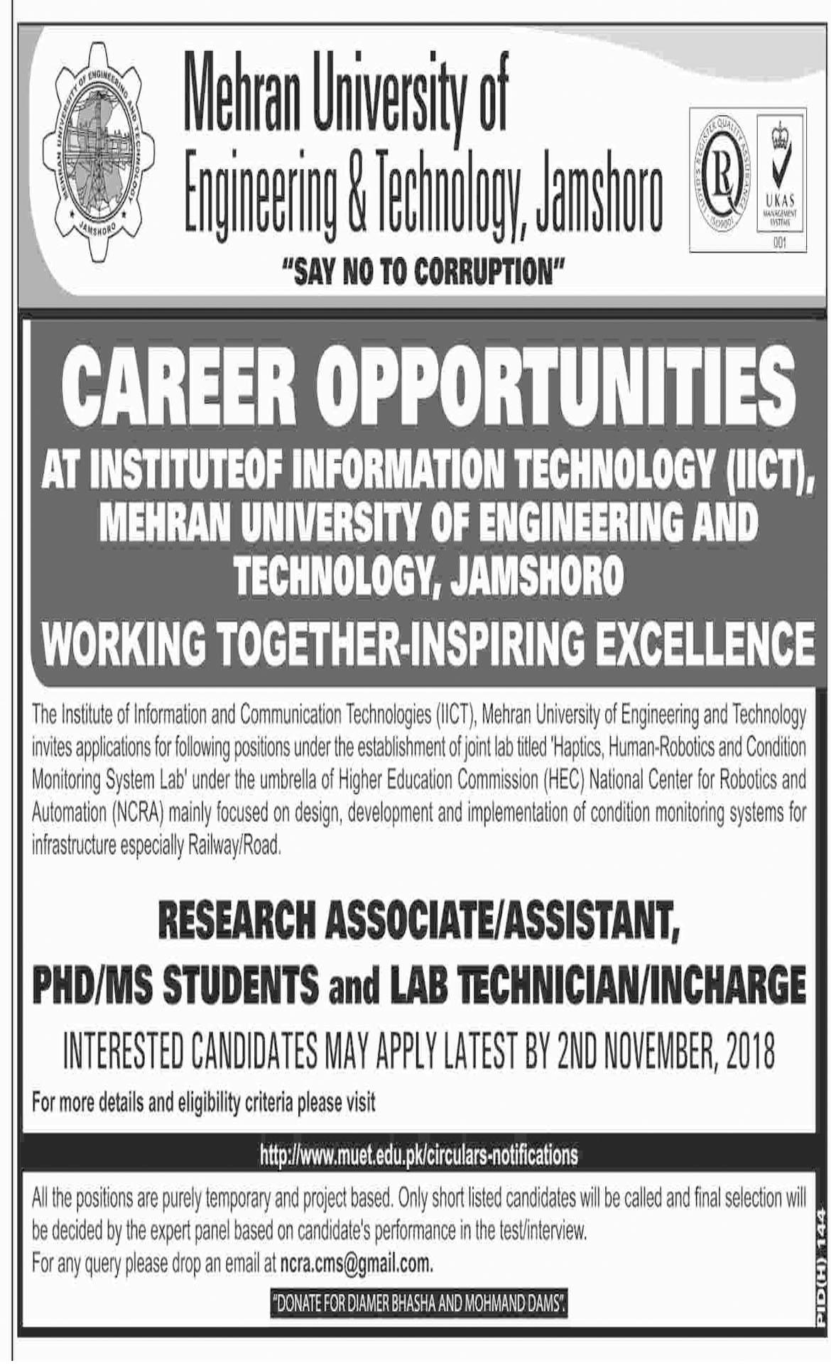 Jobs In Mehran University Of Engineering And Technology 19 Oct 2018