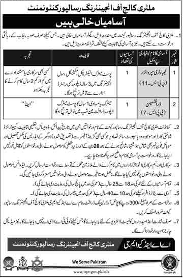 Jobs In Military College Of engineer Risalpur Cantonment 16 Jan 2018