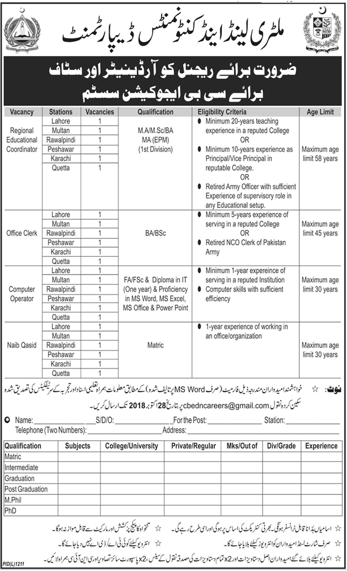 Jobs In Military Lands And Cantonment Department 22 Oct 2018