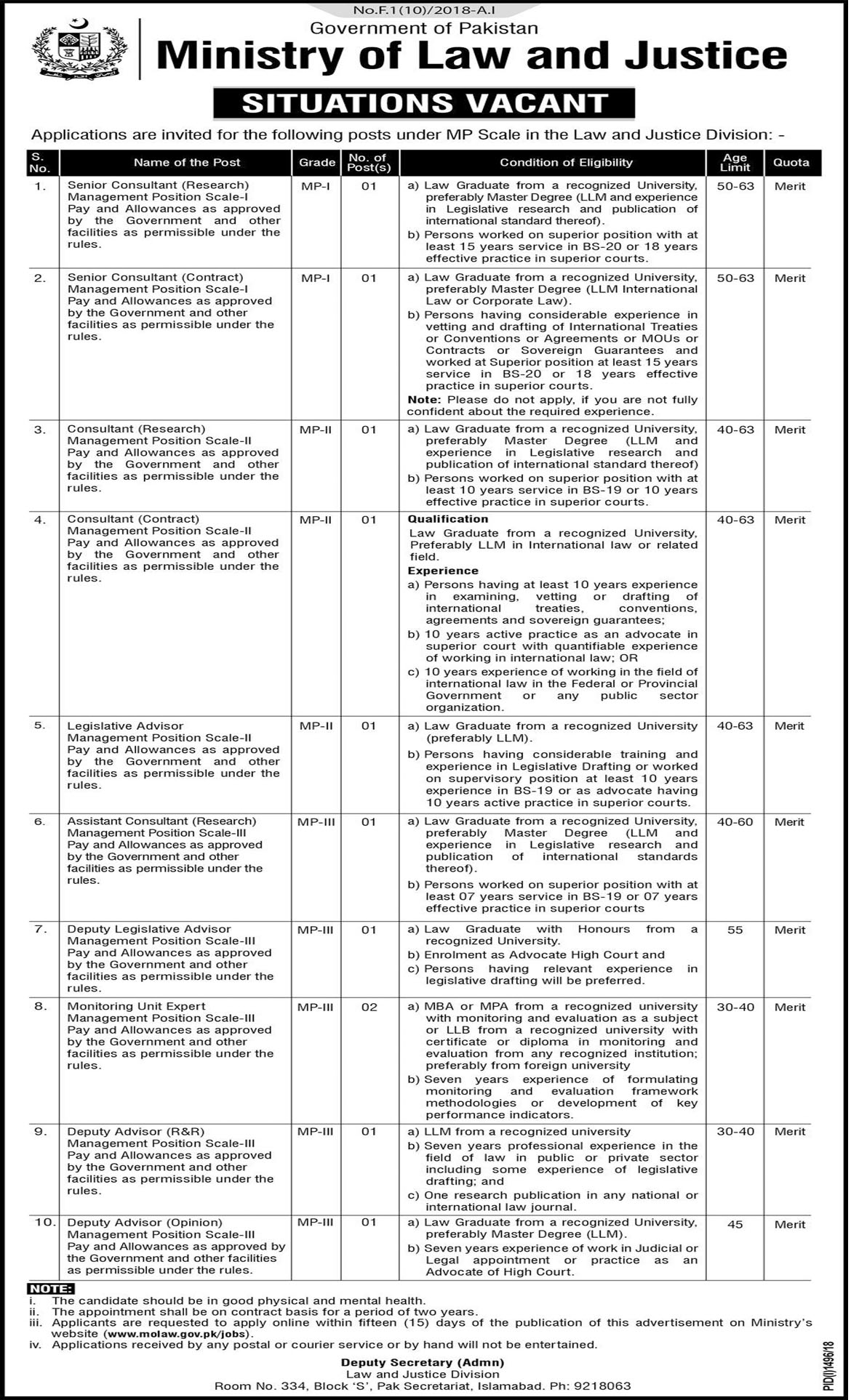 Jobs In Ministry Of Law And Justice Govt Of Pakistan 02 Oct 2018