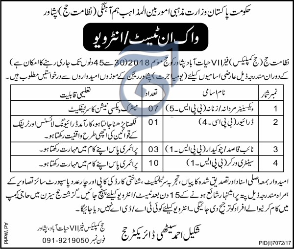 Jobs in Ministry of Religious Affairs 24 June 2018