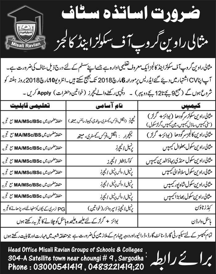 Jobs In Misali Ravian Groups Of Schools And Colleges 01 Mar 2018