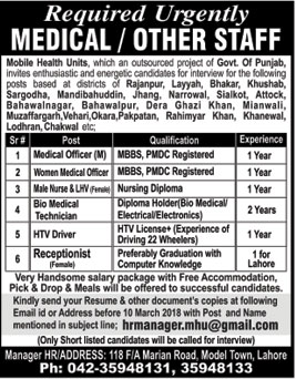 Jobs in Mobile Health Unit 04 March 2018