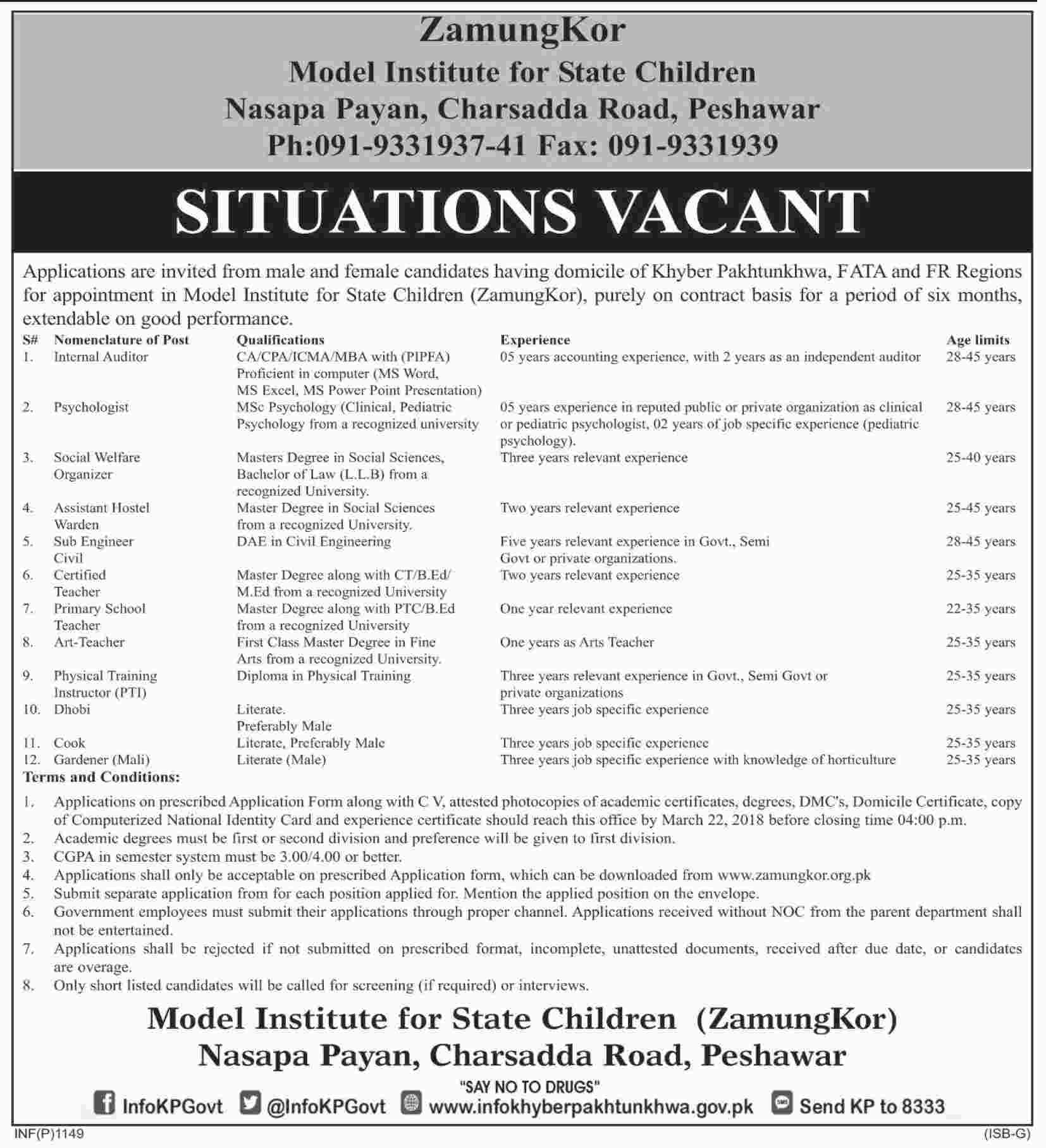 Jobs In Model Institute For State Children Nasapa Payan 12 Mar 2018