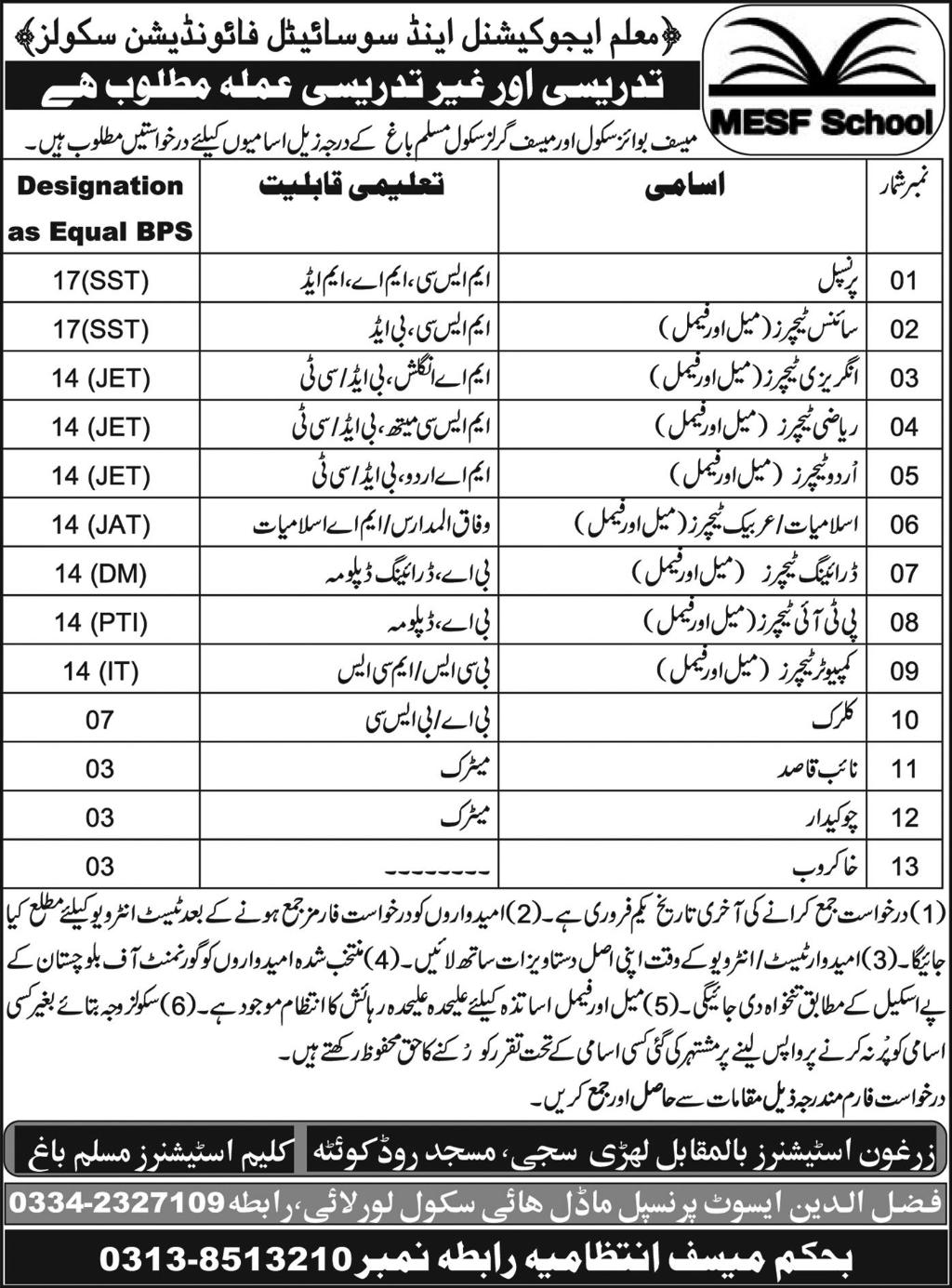 Jobs In Mualam Educational And Society Foundation Schools 19 Jan 2018