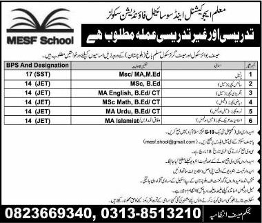 Jobs In Muallam Education And Societal Foundation School 14 Mar 2018
