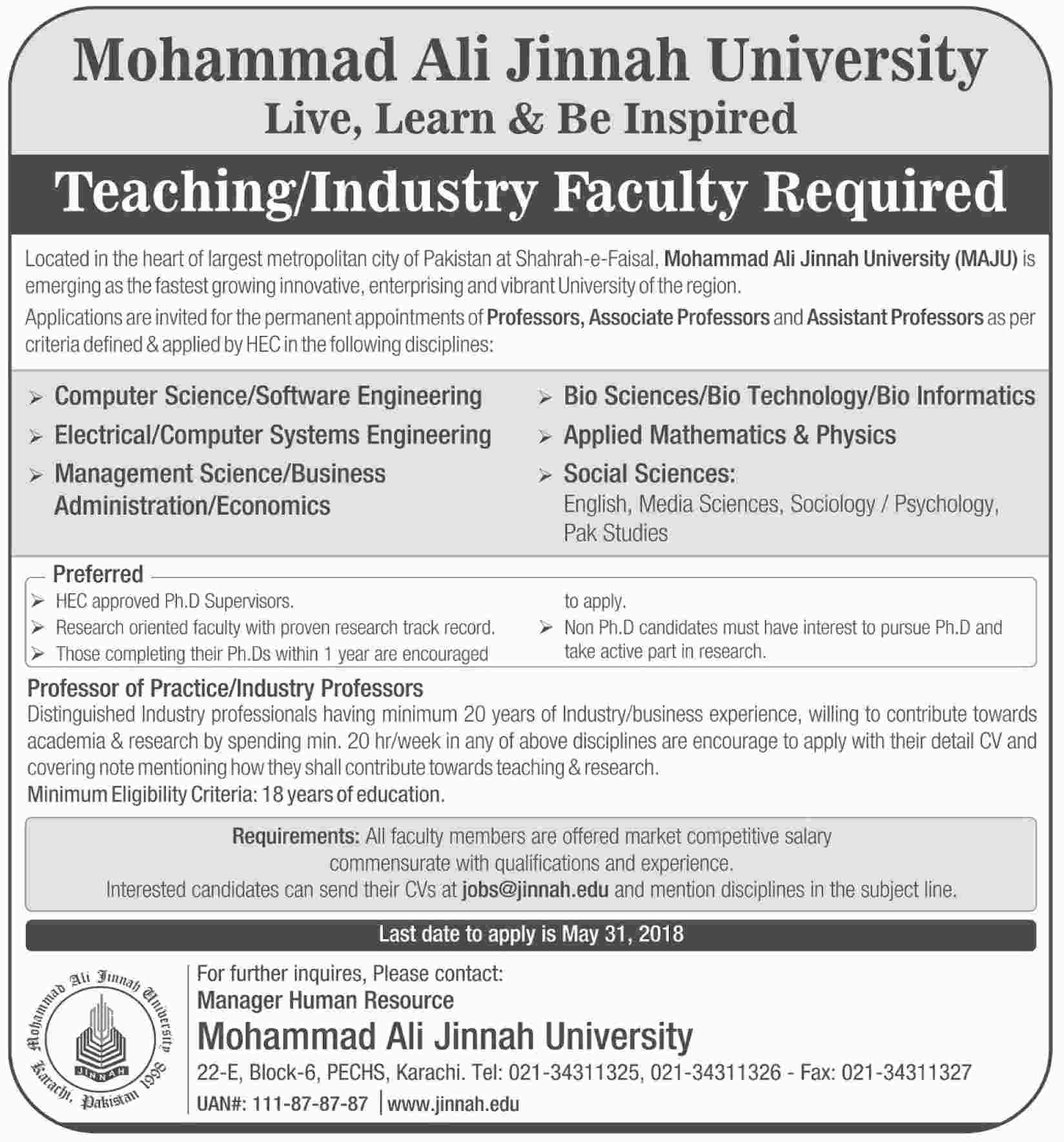 Jobs in Muhammad Ali Jinnah University 29 April 2018