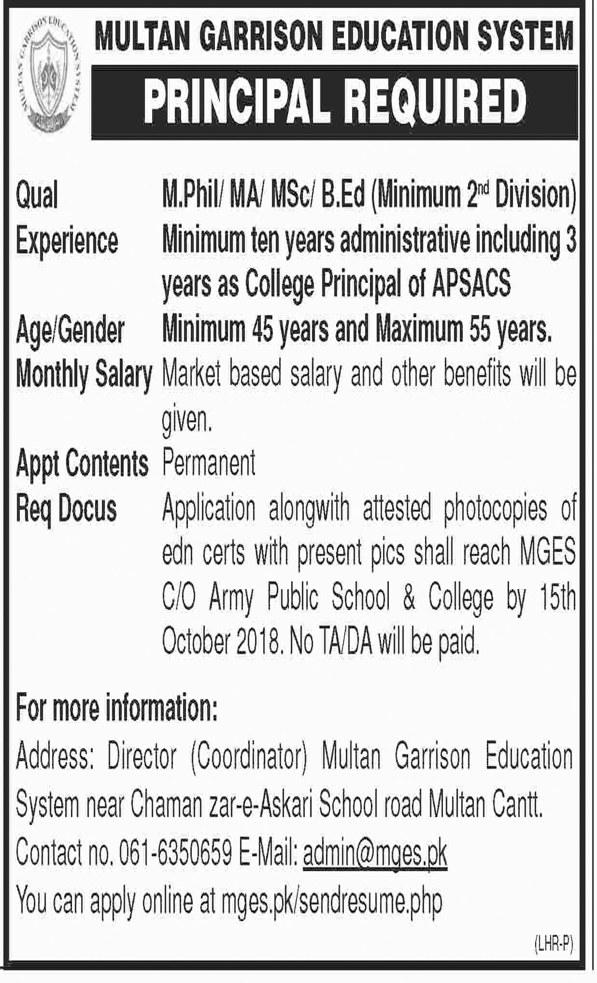 Jobs In Multan Garrison Education System 11 Oct 2018