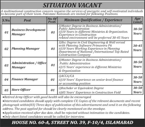 Jobs In Multinational Construction Company 09 Jan 2018